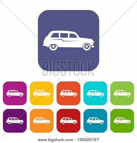 Retro car icons set vector illustration in flat style in colors red, blue, green, and other