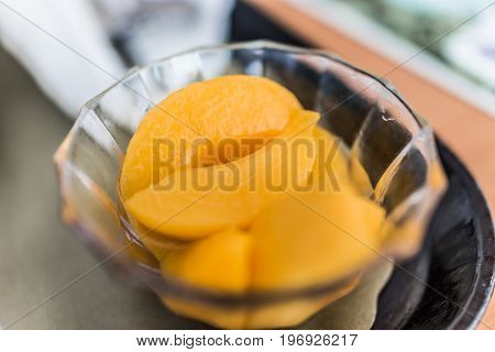 Canned Peaches In Syrup In Glass Bowl Macro Closeup