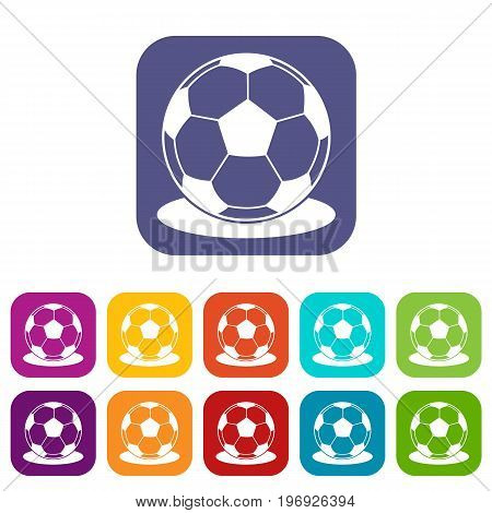 Soccer ball icons set vector illustration in flat style in colors red, blue, green, and other