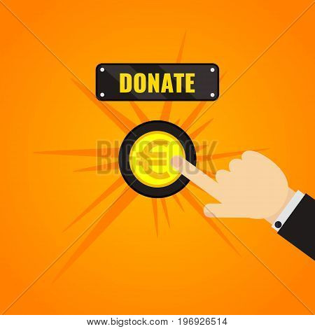 Man pressing donate button with euro sign. Giving money, fundraising business concept. Financial contribution to charity online. Helping the needy. Touch, push or press symbol. Vector illustration.