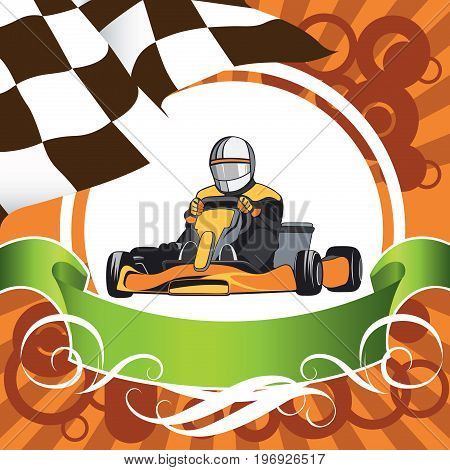 Karting. The winner came first. Layout on a sports theme, Kart, Competition, Championship, Winner. Flat design, vector illustration
