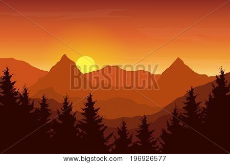 Vector illustration of an autumn orange mountain landscape under a sunrise sky with clouds