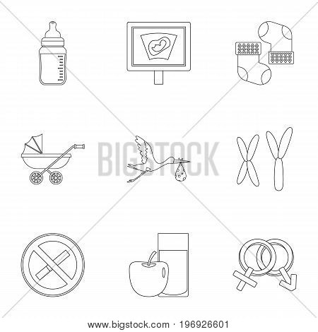 Pregnancy symbols icons set. Outline set of 9 pregnancy symbols vector icons for web isolated on white background