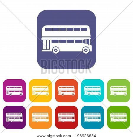 Double decker bus icons set vector illustration in flat style in colors red, blue, green, and other