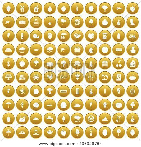 100 productiveness icons set in gold circle isolated on white vector illustration