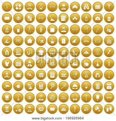 100 profession icons set in gold circle isolated on white vector illustration