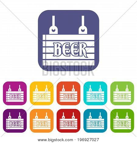 Street signboard of beer icons set vector illustration in flat style in colors red, blue, green, and other