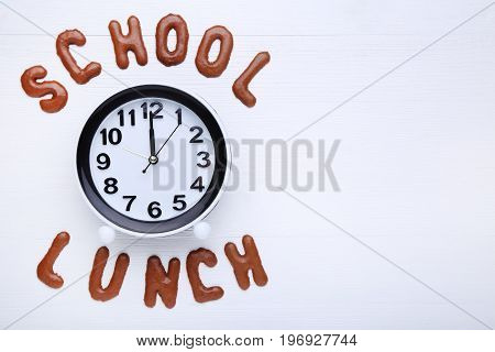 School Lunch Written By Chocolate Cookies Alphabet With Round Clock