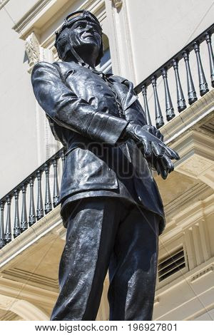 A statue of First World War Flying Ace and Second World War Royal Air Force Commander Sir Keith Park on Waterloo Place in London UK.
