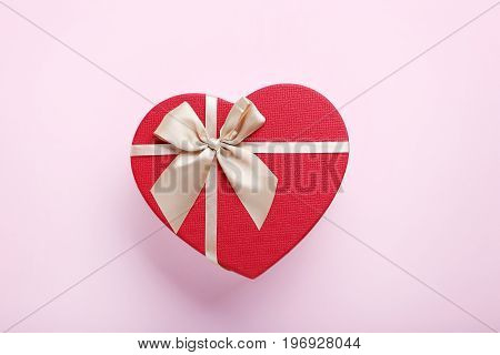 Heart Gift Box With Ribbon On Pink Background