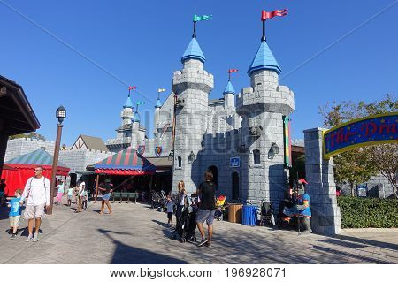 HOUSTON, USA - JANUARY 12, 2017: Big castle entrance in Legoland, as touristic place. Legoland is a theme park based on the popular LEGO brand of building toys.