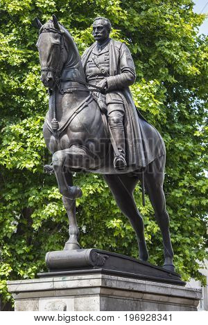 LONDON UK - JUNE 14TH 2017: An esquestrian statue of Field Marshal Earl Haig located on Whitehall in London UK, on 14th June 2017.