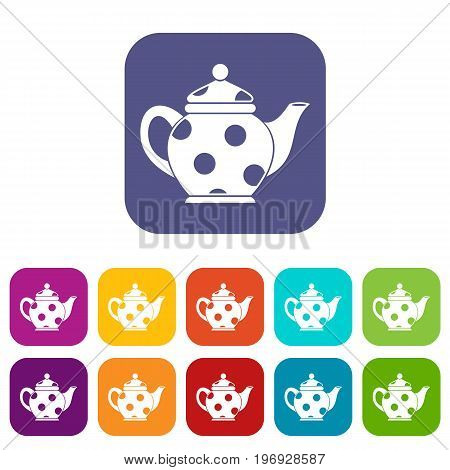 Kettle icons set vector illustration in flat style in colors red, blue, green, and other