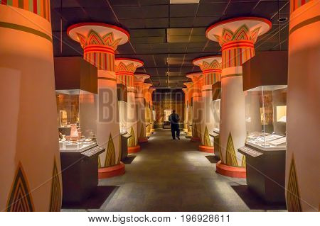 HOUSTON, USA - JANUARY 12, 2017: Hall inside of the Ancient Egypt in National Museum of Natural Science in Orlando Houston in USA, in a black background.