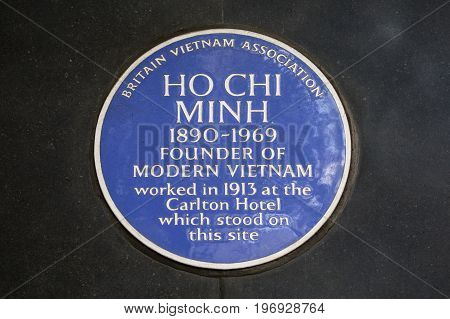 LONDON UK - JUNE 14TH 2017: A blue plaque dedicated to the Founder of modern Vietnam - Ho Chi Minh located on Haymarket in central London on 14th June 2017.