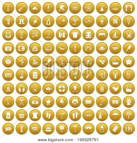 100 recreation icons set in gold circle isolated on white vector illustration