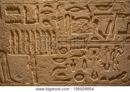 HOUSTON, USA - JANUARY 12, 2017: Egyptian art on wall exposed at the Ancient Egypt area in National Museum of Natural Science in Orlando Houston in USA, in a black background.