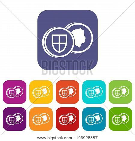 Coins of UK icons set vector illustration in flat style in colors red, blue, green, and other