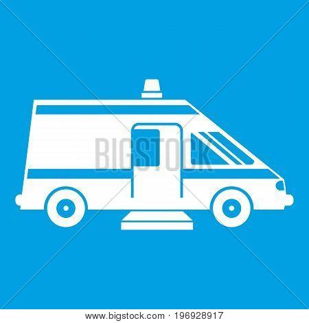 Ambulance icon white isolated on blue background vector illustration
