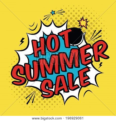 Vector Colorful Pop Art Illustration With Hot Summer Sale Discount Promotion. Decorative Template Wi