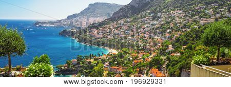 View to Monte Carlo and Monaco from Roquebrune Cap-Martin French riviera France Europe.