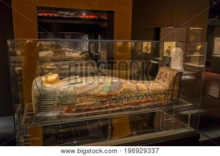 HOUSTON, USA - JANUARY 12, 2017: Exposition of different sarcophagus inside of the building in the Ancient Egypt area, in National Museum of Natural Science in Orlando Houston in USA.