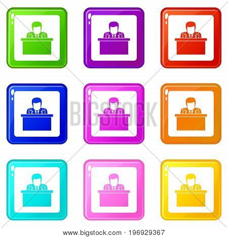 Orator speaking from tribune icons of 9 color set isolated vector illustration