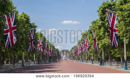 A view looking down The Mall towards Buckingham Palace in London UK.