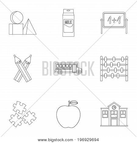 Education icons set. Outline set of 9 education vector icons for web isolated on white background