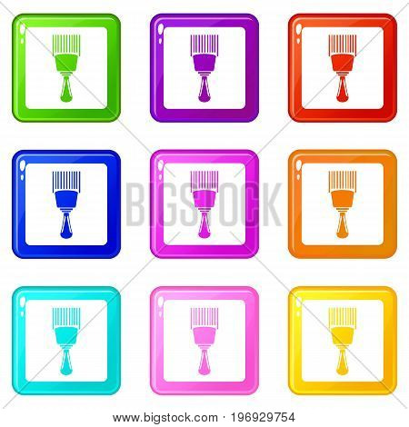 Bar code scanner icons of 9 color set isolated vector illustration