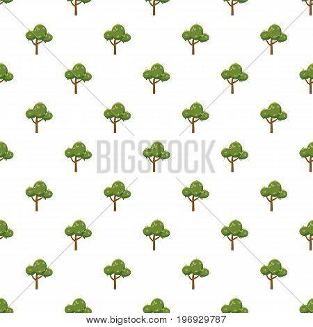 Fluffy tree pattern seamless repeat in cartoon style vector illustration