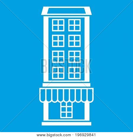 Shop icon white isolated on blue background vector illustration