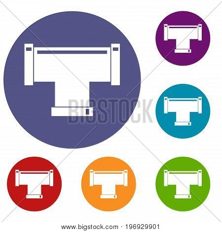 T pipe connection icons set in flat circle red, blue and green color for web