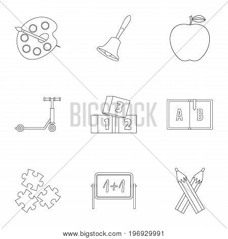 Primary school icons set. Outline set of 9 primary school vector icons for web isolated on white background