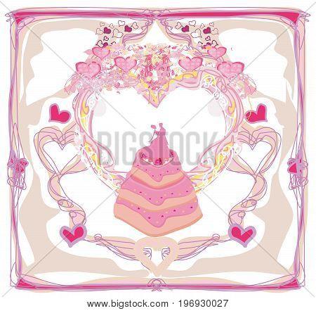 Wedding cake card design , vector illustration