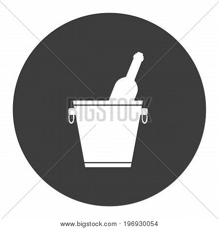Ice bucket with wine and champagne bottle. Alcohol icon. Vector illustration.