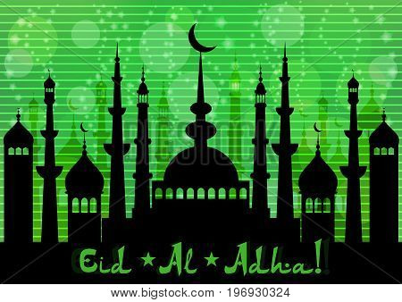 Card with mosques city for wishes with beginning of fasting month of Ramadan as well with Islamic holiday Eid al-Fitr and Eid al-Adha on green twilight background. Vector illustration