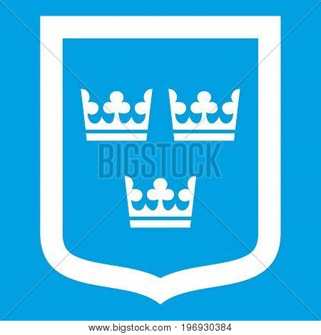 Coat of arms of Sweden icon white isolated on blue background vector illustration