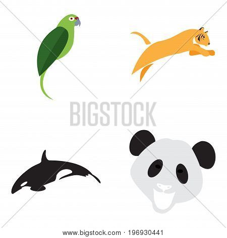 Set of abstract animals on a white background, Vector illustration