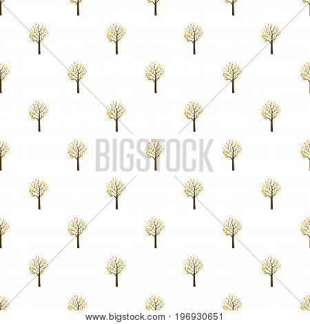 Autumn tree pattern seamless repeat in cartoon style vector illustration