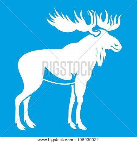 Moose icon white isolated on blue background vector illustration