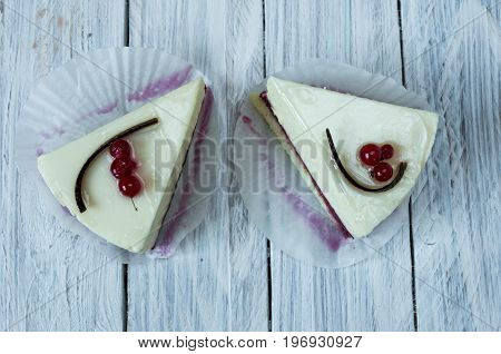 White Cheesecake With Red Currant. Flat Lay.