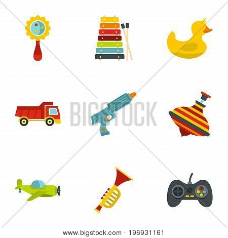 Boy toys icons set. Flat set of 9 boy toys vector icons for web isolated on white background