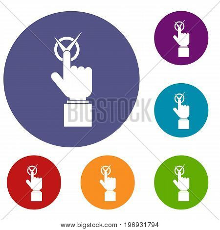 Hand finger pressing button with tick icons set in flat circle red, blue and green color for web