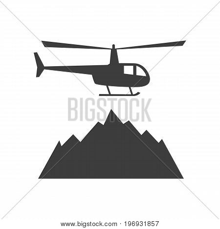 Heliskiing flat icon with helicopter and mountains. Design for tourist catalog maps of the ski slopes placard brochure flyer booklet. Vector illustration.