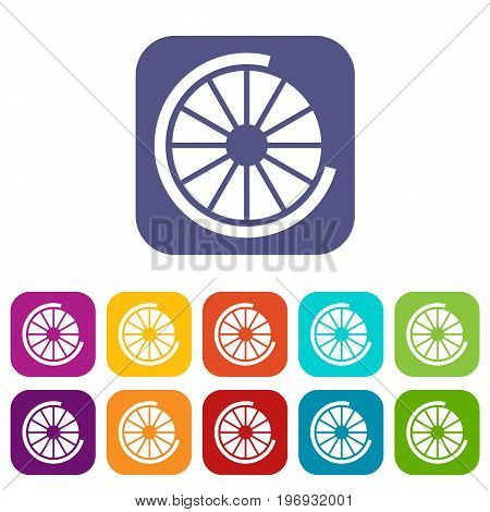 Sign incomplete download icons set vector illustration in flat style in colors red, blue, green, and other