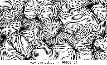 Black Abstract Waves On White Background - Shape Made Of Dots
