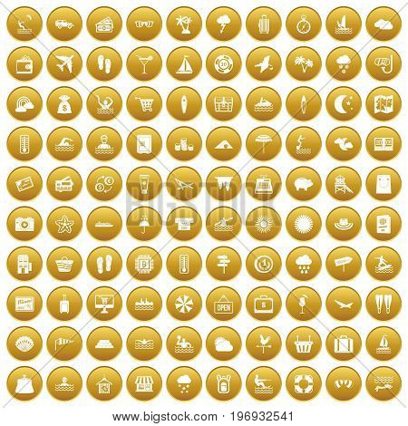 100 seaside resort icons set in gold circle isolated on white vector illustration