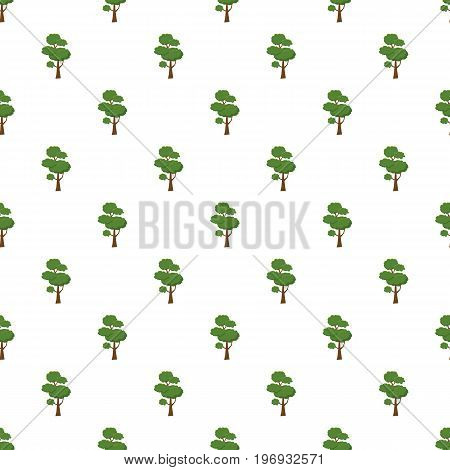 Spring tree pattern seamless repeat in cartoon style vector illustration