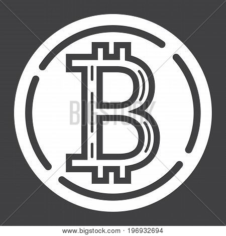 Bitcoin coin glyph icon, business and finance, virtual money sign vector graphics, a solid pattern on a black background, eps 10.